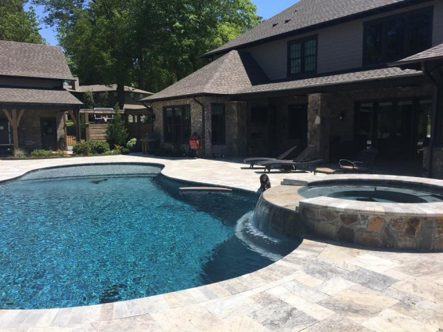 Gunite pool with 12 feet retaining wall Birmingham Alabama