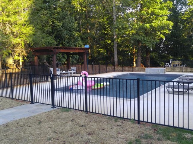 Vinyl Liner Pool With A Fence And A Gazebo Indian Springs Al