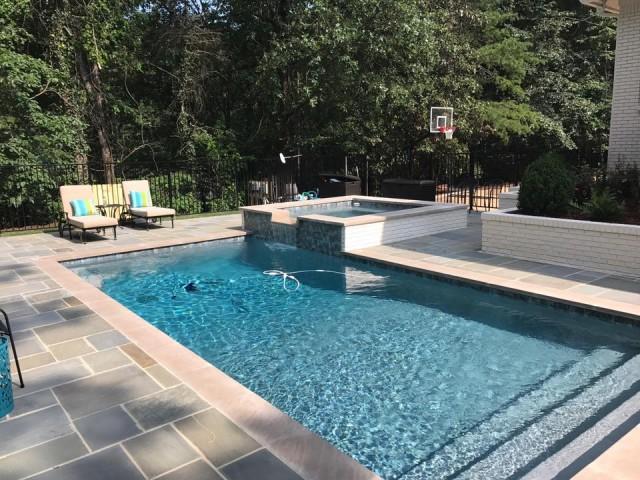 Gunite Pool and Spa with Bluestone Deck
