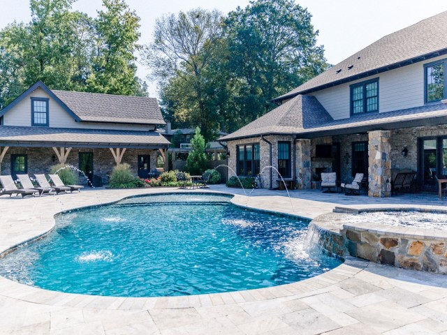 Gunite Pool With Spa and Spill Over